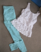 zestaw spodnie rurki cygaretki miętowe S i bluzka angielska kor...