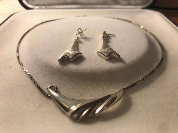 Srebrny naszyjnik i kolczyki KOMPLET srebro 925...