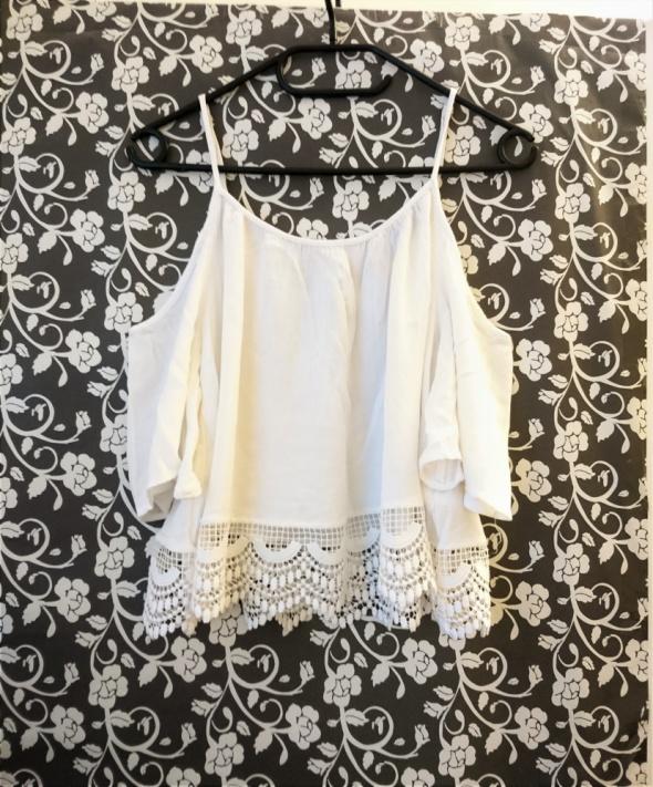 H&M hiszpanka boho odkryte ramiona gipiurowa biała ażurowa 34 X...
