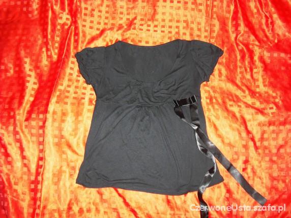 czarna bluzka bufki kokardka