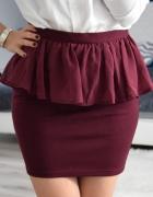 stylowa spódnica z baskinką burgund marki Amisu 36 S...