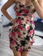 krótka sukienka piękne wzory dopasowana Zip seksowna 34 XS