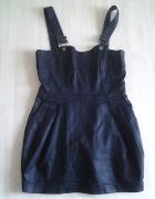 Czarna woskowana sukienka na szelkach H&M roz 38...