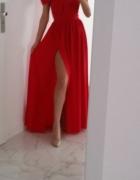 Czerwona maxi dress z rozcięciem długa sukienka Wesele...