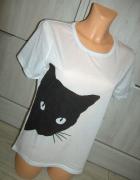 nowy biały tshirt kot L z kotem...