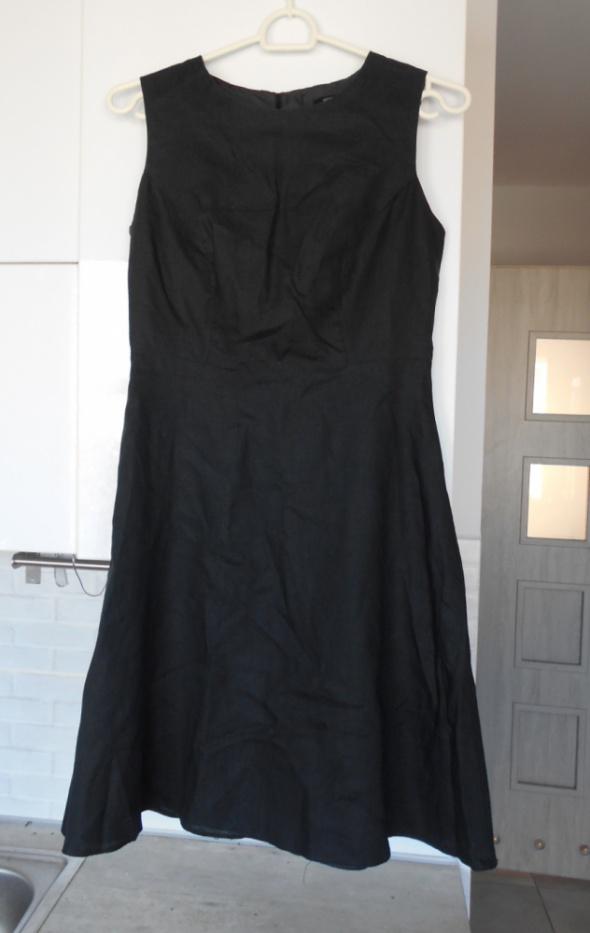 FF czarna sukienka lniana len zamek klasyka...