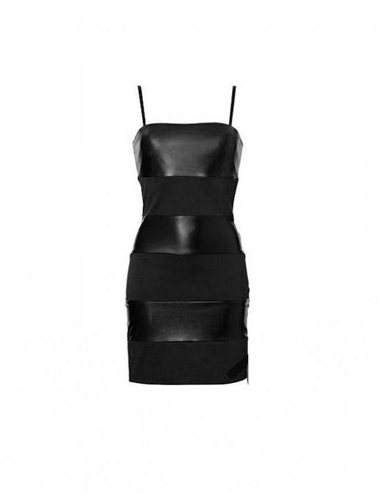RAINBOW czarna sukienka z pasów roz 32 34