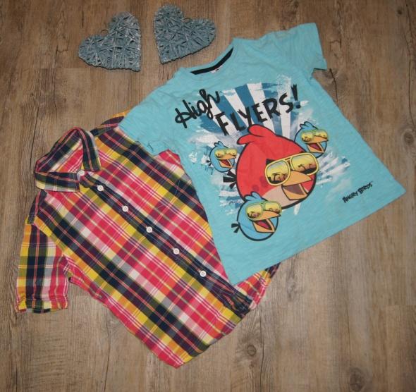 Koszula chłopiec kratka gratis Angry Birds rozm 116