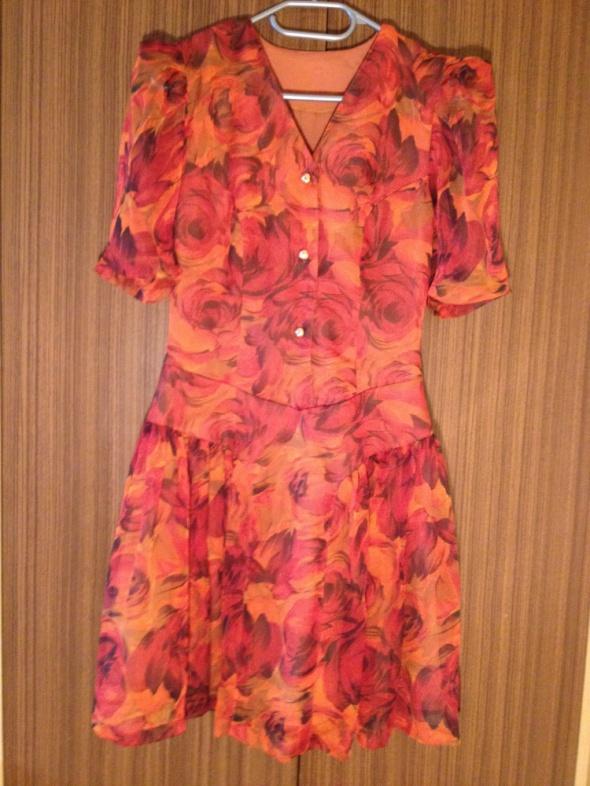 Sukienka kwiaty bufki na rękawach przeźroczyste S...