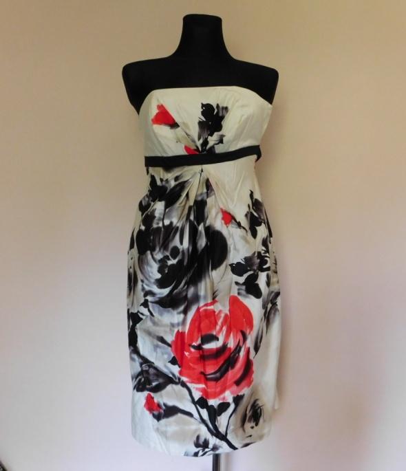 Debenhams sukienka ecru midi kwiaty 36...