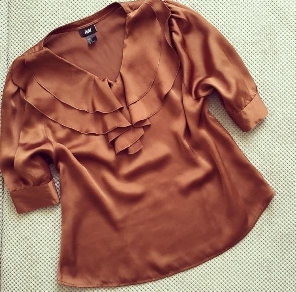 H&M bluzka satynowa żabot brązowa M L