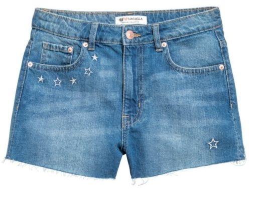Spodenki HM Coachella Haftowane jeansowe szorty z wysokim stanem 34