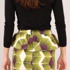 Spódnica ZARA rozm 36 print neon geometryczna hit sexy mini