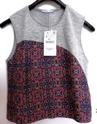 Bluzka Zara Crop Top Do Spodni z Wysokim Stanem Nowy S...