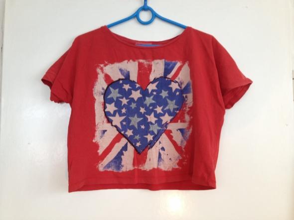 Flaga amerykańska tshirt koszulka szeroka czerwona S M L 36 38 40 używana fitness