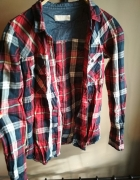 Bordowa koszula house w kratę S z łatami dżinsowymi i podpinane...