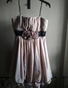 Beżowa sukienka balowa ślubna studniówkowa S...