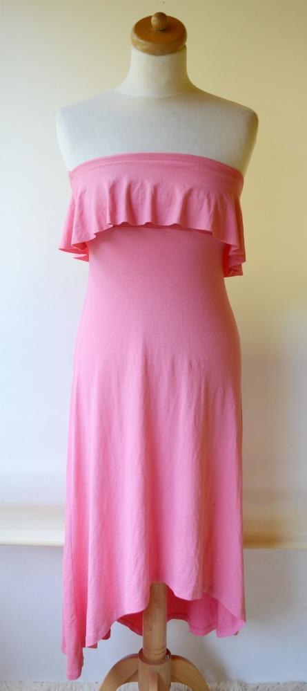 Sukienka Gina Tricot XS 34 Różowa Falbanka Dłuższy Tył Long...
