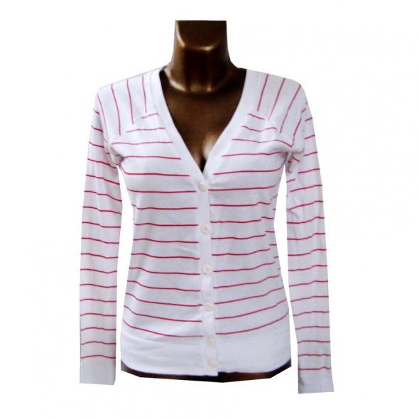 Cienki Biały Czerwony Sweterek w Paski L XL...