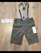 Bermudy chłopięce krótkie spodenki na szelkach khaki 122 128...