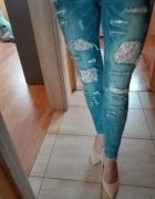 Modne Spodnie jeans dziury koronka s m...