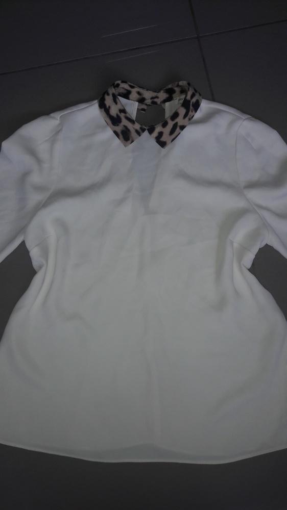 Kremowa luźna bluzka z kołnierzykiem panterka River Island M...