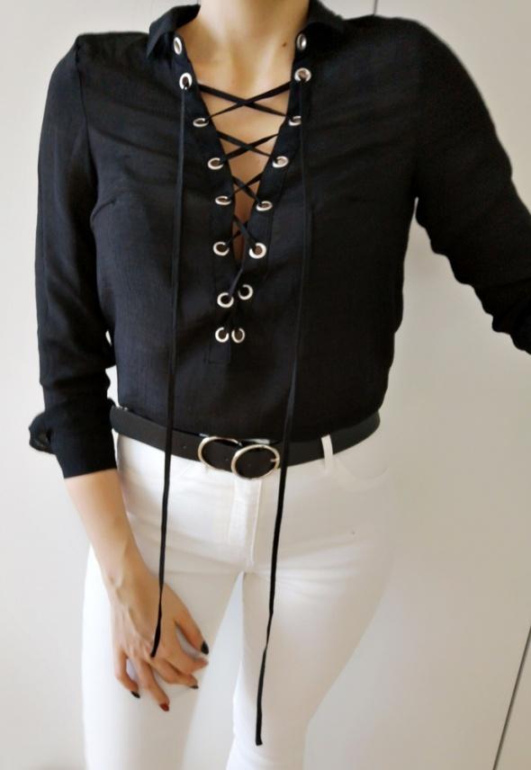 Koszule H&M Koszula damska z wiązaniem czarna S 36
