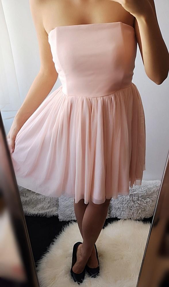 Suknie i sukienki Sukienka rozkloszowana tiulowa pudrowy róż 38 M