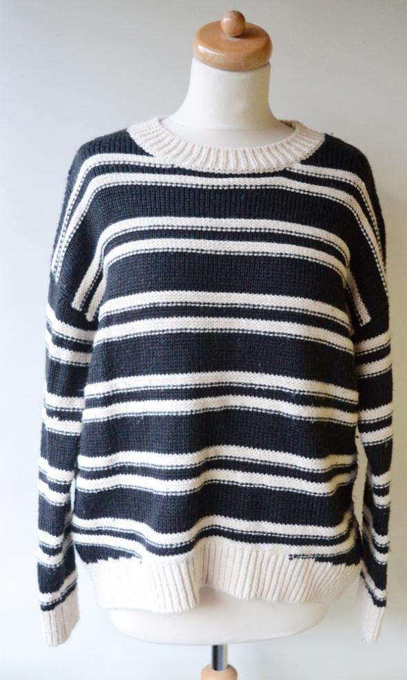 Sweter H&M Paski Paseczki Oversize Wełna M 38 Czarny...