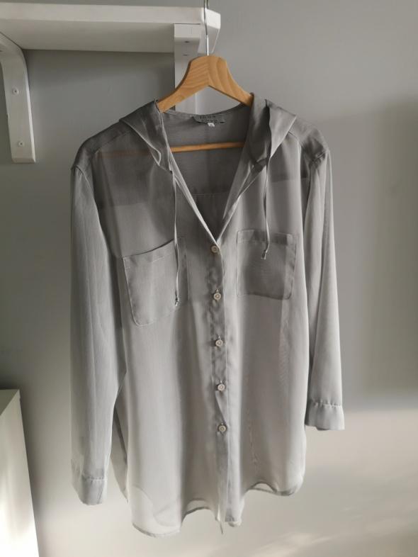 Bluzki Luźna bluzka narzutka mgiełka kaptur S M L oversize