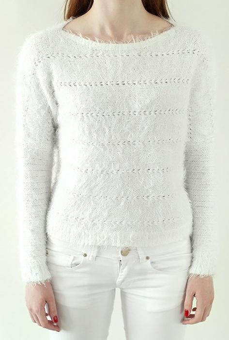 Biały włochaty sweterek Orsay S...