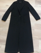 Płaszcz ręcznie szyty wełniany czarny długi Zara S jak nowy...