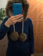 Beżowa czapka kaptur z uszami i futerkiem...
