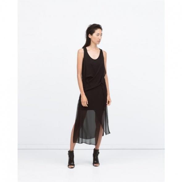 Nowa sukienka czarna asymetryczna drapowana z szyfonem Zara S...