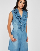 Nowy krótki kombinezon M 38 niebieski jeansowy dżins onesie jum...