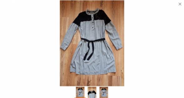 Koszulowa sukienka tunika z czarna koronka...