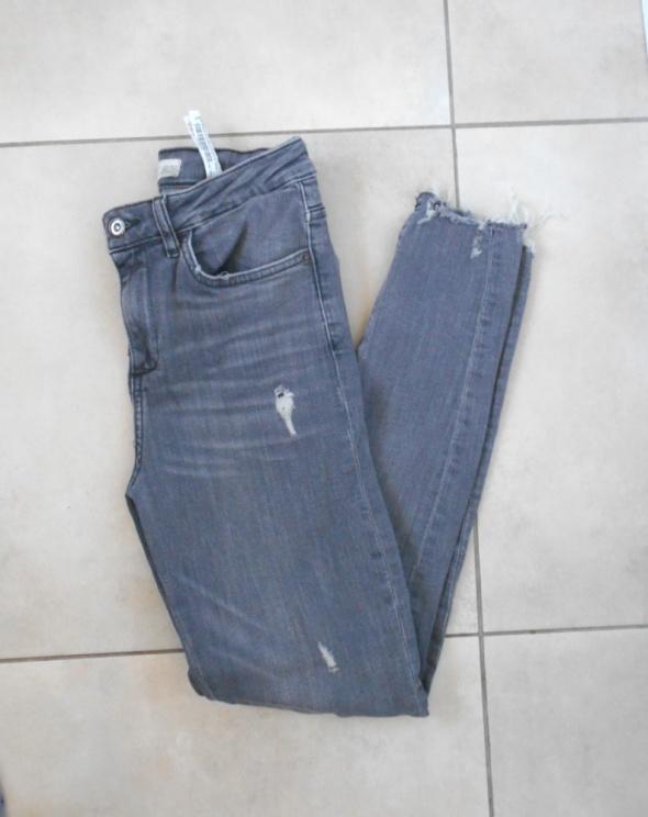 Spodnie Zara szare rurki dziury ripped destroyed skinny slim