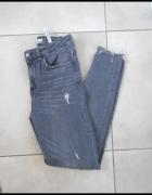 Zara szare rurki dziury ripped destroyed skinny slim...