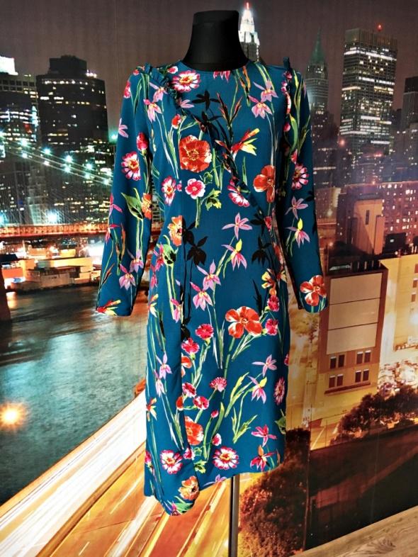 atmosphere sukienka butelkowa zieleń kwiaty nowa 34 XS...
