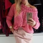 Śliczny wiosenny różowy sweterek
