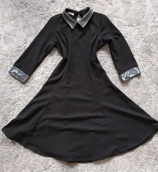 Czarna sukienka z kołnierzykiem M