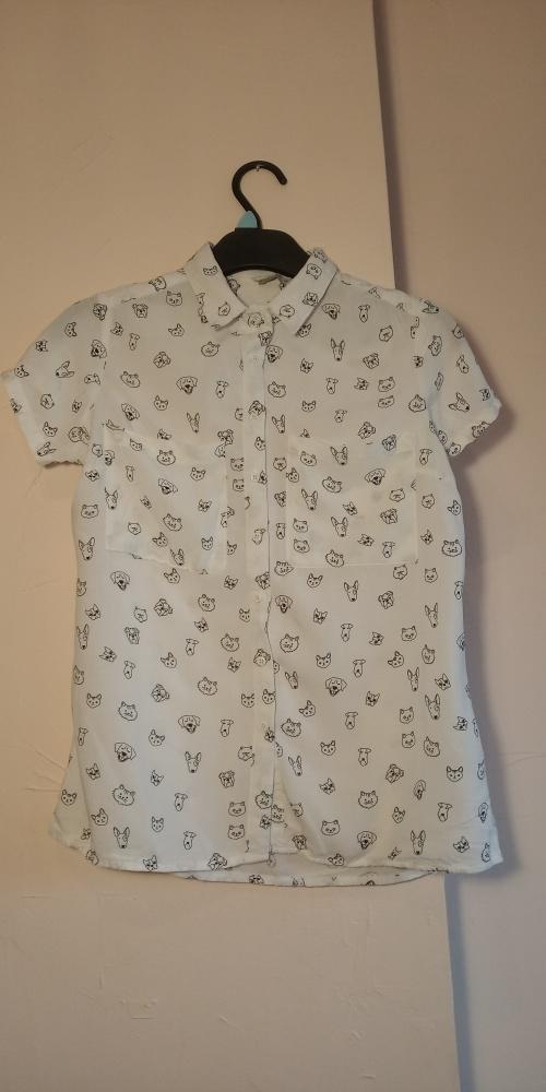 Koszula z krótkim rękawem HOUSE rozmiar XS biała z pieskami i kotkami