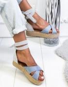 wiązane sandały boho 41 42 grochy retro boho espadryle groszki ...