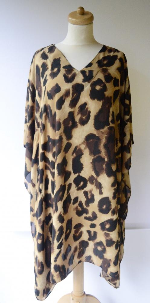 Suknie i sukienki Sukienka Oversize Panterka Nietoperz Uniwersalny Cęntki