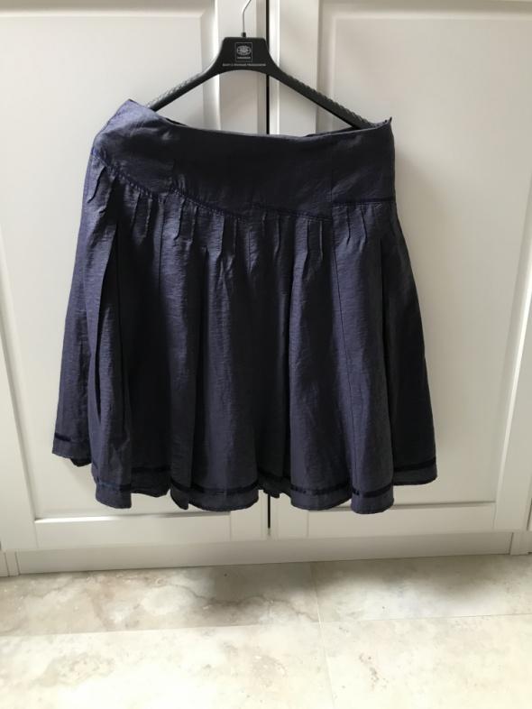 Spódnice Granatowa spódnica rozkloszowana z podszewką