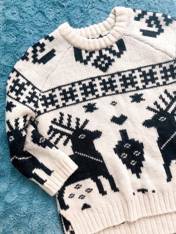 Gruby sweter z reniferami H&M wełna alpaka wzór norweski