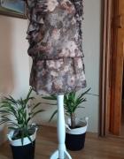 tunika sukienka brązowa w różowe kwiaty