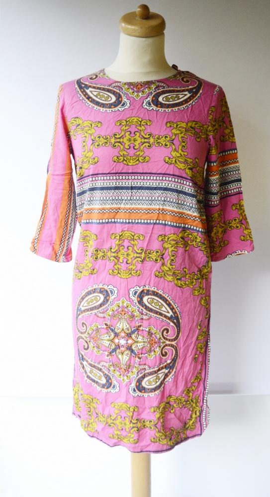 Suknie i sukienki Sukienka Boho Wzory Lindex XS 34 Wzorki Różowa Róż