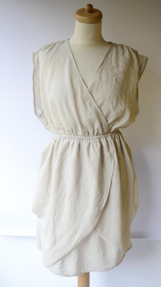 Sukienka Beżowa H&M L 40 Kopertowa Do Karmienia Beż...