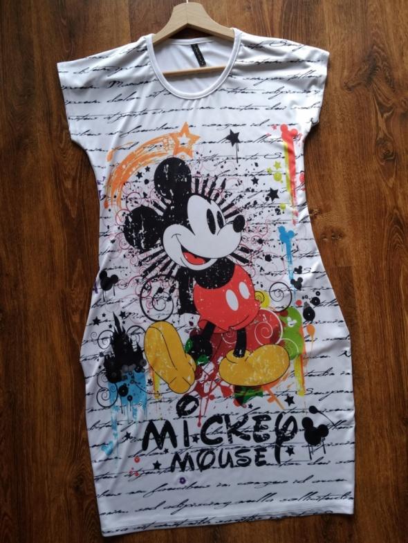 Sukienka z kieszeniami i kolorowym nadrukiem Mickey Mouse